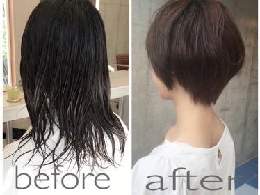 ストレートな髪質でもパーマをかけずふわっとするショートヘア